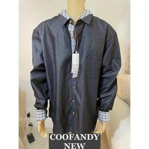 COOFANDY Button Down Shirt with Stripes Sz Lg